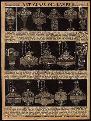 Antique AD Mission Art Glass 16 Oil Lamps 1914 Sears Catalog Page Advertisement