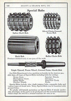 Hobs Cutting Specials  Brown & Sharpe 1941 Catalog AD