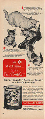 Puss'n Boots Mom Plays with Her Kittens 1952 Print Ad Cat Food