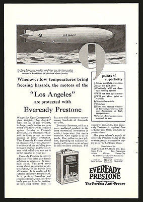 Dirigible Los Angeles US Navy 1928 Photo Illustration Ad Everready Prestone - Paperink Graphics