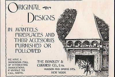 Mantels Fireplaces Bradley & Currier NY 1897 Print AD