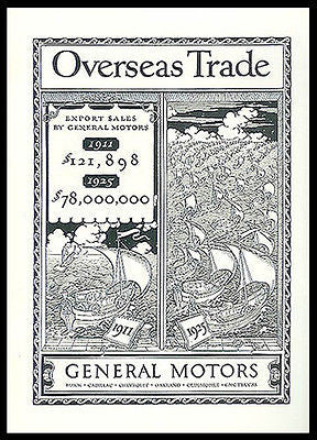 Auto Export Sales Overseas Trade General Motors T.M. Cleland Art 1926 Print Ad