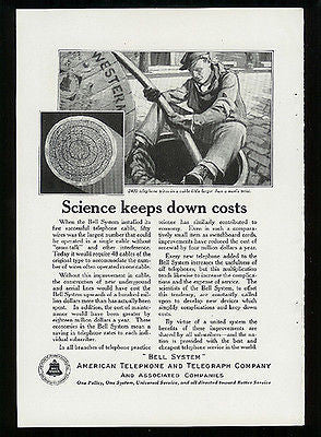 Manhole Cover Lineman Cable Telephone Wires 1922 Ad Bell System Communications - Paperink Graphics