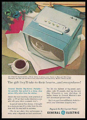 BLUE GE Portable Modern Design Television 1957 Photo AD