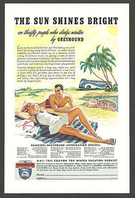 Greyhound Bus 1939 Florida Travel AD Bathing Suit Couple Palm Tree Tourism - Paperink Graphics