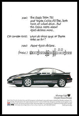 Chrysler Eagle Talon TSi Black Auto Car Musical Photo 1991 Print Advertising - Paperink Graphics