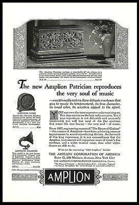 Amplion Patrician Ad 1920s Sound Reproducing Device Acoustics Reproducer Advert - Paperink Graphics