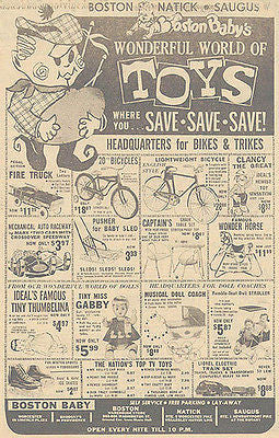 Boston TOY Store Newspaper AD 1963 Bikes Train Doll Pedal Car Fire Truck Advert - Paperink Graphics