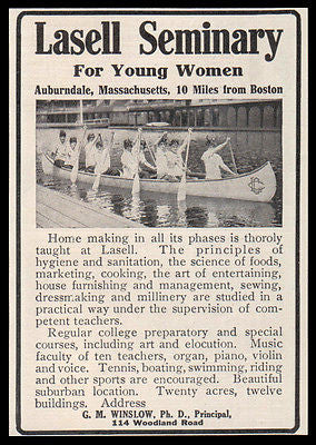 Girl's School AD 1914 Auburndale MA Lasell Seminary Home Economics Sports