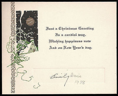 Antique Greeting Card Embossed Lithographic Art Design House Moon Art 1928