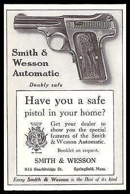 Antique Pistol AD 1915 Smith & Wesson Automatic Doubly Safe Springfield Mass - Paperink Graphics