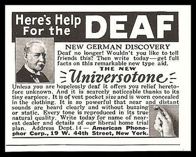 Deaf Hearing Aid Universotone Tiny Earpiece Vest Pocket 1929 Photo Ad