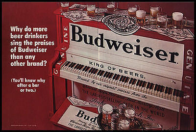 Budweiser Bud Piano 2 Page Beer Brewery 1970 Photo Ad