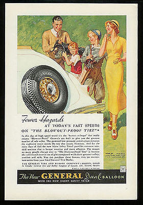 Antique Tire Advertisement 1934 General Dual Balloon Tire Ad Golfing Golf Bags