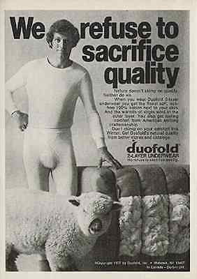 Hunk Beefcake Longjohns Wooly Lamb 1977 AD Duofold Underwear - Paperink Graphics