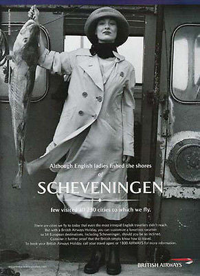 English Lady Caught Codfish Scheveningen 2001 British Airways Photo Ad