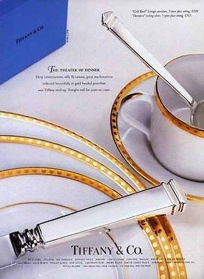 Tiffany Theater of Dinner 1996 Ad Dinnerware Lovely Decorative Gold Border