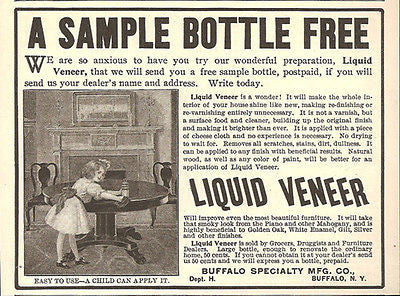 Buffalo Specialty Manufacturing Co. 1905 Antique AD Furniture Polish Liquid Veneer Little Girl Cleaning - Paperink Graphics