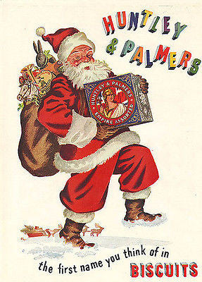 Santa Claus Ad 1950 Huntley & Palmers Biscuit Tins Illustrated Holly Leaves