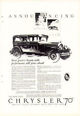 Chrysler 70 Automobile Motor Car 1926 Antique Classic Transportation Auto Ad - Paperink Graphics