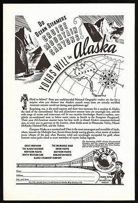 Alaska Globe Map 1938 Ad Alaska Railroad Steamship Vacation Tour - Paperink Graphics
