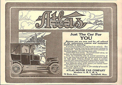 Antique Auto AD Atlas Motor Car Company Town Car Two Cycle Engine 1908 - Paperink Graphics