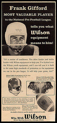 Frank Gifford Football Player National Pro Football League 1957 Wilson Ad