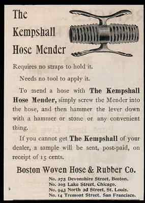 Garden Hose Mender 1893 Antique Ad Boston Woven Hose Rubber Company
