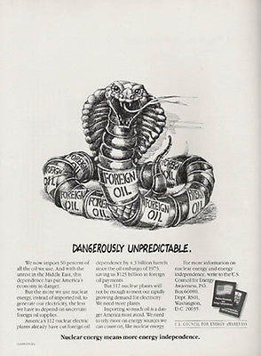 Cobra Snake Graphic Arts Nuclear Energy Oil 1990 Political Ad