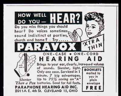 Hearing Aid Vintage AD Paravox Thin One Case One Cord 1947 Medical Device