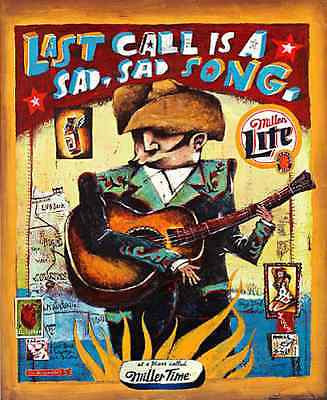 Miller Beer Ad Time Guitar Cowboy Hat Last Call Texas Map Graphic Arts 2002