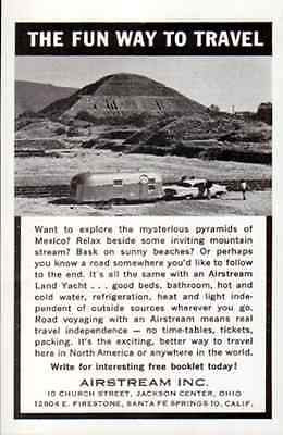 Airstream Land Yacht Trailer Mexico Pyramids 1962 Hotel Travel Tourist AD - Paperink Graphics