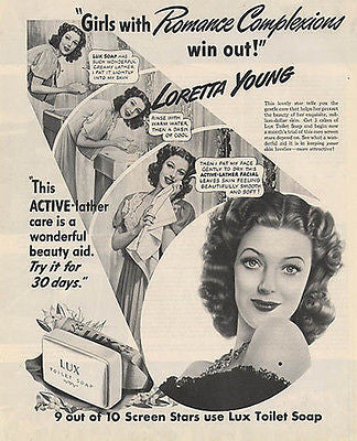 Loretta Young Movie Star Lux Soap Romance Complexion 1942 Photo Ad - Paperink Graphics