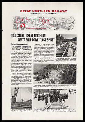 Last Spike Great Northern Railway RR 1945 Photo View Ad