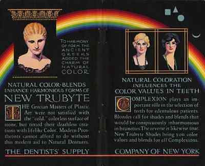 RAINBOW Art Trubyte Natural Color Blend Dentures 2 pg 1931 Dentist Supply AD
