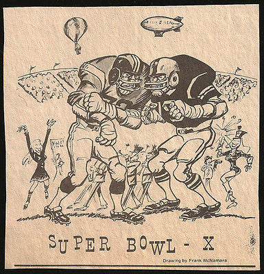 Super Bowl X Football Sports Cartoon Newspaper Clipping