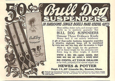 Bulldog Displays Bull Dog Suspenders Christmas Bulldog 1908 AD