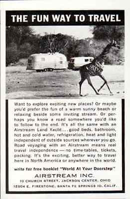 Airstream Land Yacht Trailer Giraffe 1961 Hotel Travel Tourist AD - Paperink Graphics