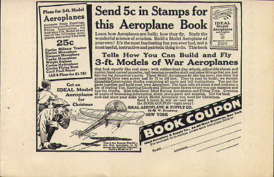 TOY AD 1917 Ideal Model Aeroplanes Bleriot 3 Foot Models of War Aeroplanes - Paperink Graphics