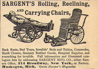 Sargent 1892 Ad Rolling Reclining Carrying Chairs Invalid Supplies