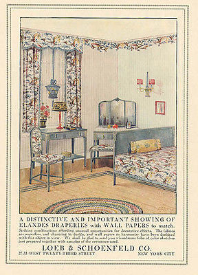 Elandes Fabric Draperies Wallpaper 1917 Sutton Print AD