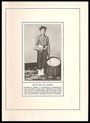 Drummer Boy Charles F. Mosby 1861 Confederate Army Civil War Print - Paperink Graphics
