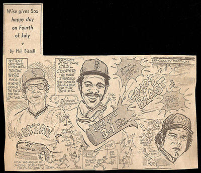 Wise Cooper July 4 Win Red Sox Sports Cartoon Newspaper Clipping - Paperink Graphics