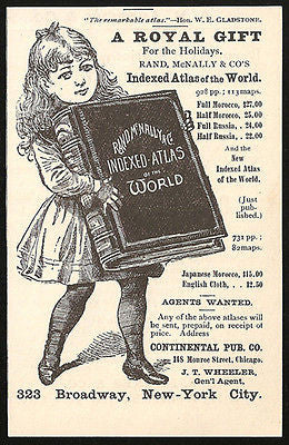 Atlas Worldwide Maps AD 1886 Rand McNally Stylish Girl Huge Atlas World Maps