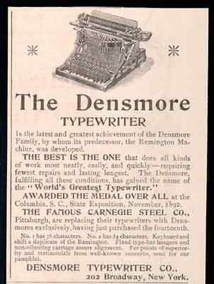 Densmore Typewriter Winner Columbia Expo 1893 Small AD