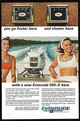 Evinrude 100-S Outboard Enjoyed by Beauties Boat Photo 1966 Ad
