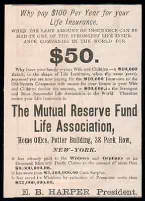 1890 Antique Insurance AD Mutal Reserve Fund Life Association E. B. Harper