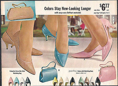 1965 Shoes Handbags Dupont Vintage Fashion Mad Men Ad - Paperink Graphics