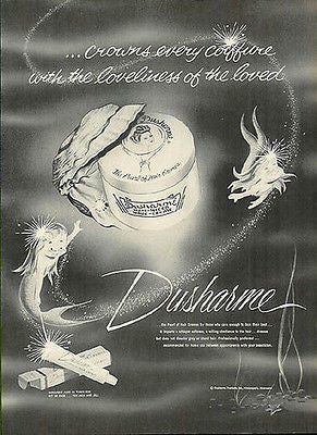 Mermaids Oyster Pearl Duscharme Hair Cremes 1958 Ad Fantasy Graphic Art Design