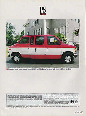 Automotive Proposed Merger Vans FORD CHEVROLET 1998 LOL Photo AD